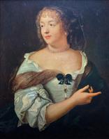 Wonderful 20thc Oil Portrait Painting of Lady In 17th Century Dress (4 of 11)