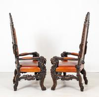 Superb Pair of Oak Throne Chairs (3 of 14)