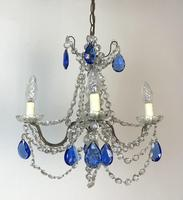 Vintage French Chandelier 4 Arm Crystal Ceiling Light with Sapphire Blue Glass (8 of 13)