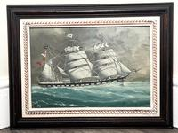 """Edwardian Watercolour """"Champion Of The Seas"""" Ship Black Ball Line Off Cape of Good Hope Signed Pierhead Artist Williams (35 of 39)"""