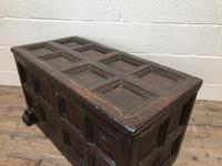 Antique Rare 17th Century Oak Coffer with Block Paw Feet (M-716) (10 of 16)