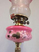 Antique Oil Lamp with Pink Cranberry Shade (8 of 12)