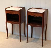 Pair of French Mahogany Inlaid Bedside Cabinets (3 of 10)