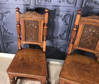 Pair of Victorian Oak Hall Chairs (3 of 17)