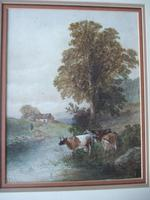 Arthur McArthur (fl:1880-1920) watercolour of cattle watering by a river (3 of 3)