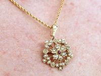 Ruby & Seed Pearl, 15ct Yellow Gold Pendant / Brooch - Antique c.1920 (13 of 14)