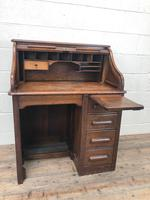 Antique Early 20th Century Oak Roll Top Desk (4 of 13)