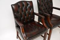 Pair of Antique Georgian Style Leather Gainsborough Armchairs (5 of 9)