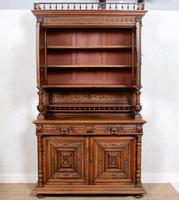 Large German Carved Walnut Bookcase Cabinet 19th Century (6 of 14)