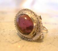 Vintage Pocket Watch Chain Silver Fob 1950s Victorian Revival Amethyst Stone Fob (3 of 10)