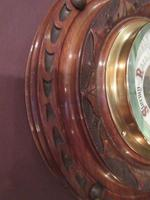 Antique Solid Walnut Manchester Aneroid Barometer (4 of 6)