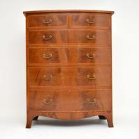 Large Antique Inlaid Mahogany Bow Front Chest of Drawers (5 of 11)