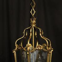 French Gilded Bronze Triple Light Antique Hall Lantern (4 of 10)