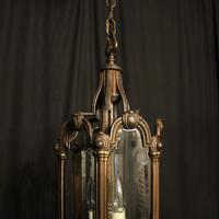 French Bronze Triple Light Antique Hall Lantern (4 of 10)