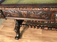 Victorian Carved Oak Desk Library Table (9 of 25)