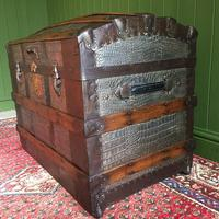 Antique Victorian Dome Top Steamer Trunk Old Gothic Travel Chest Metal Storage Box Steampunk Style (7 of 10)