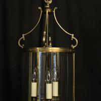French Gilded Triple Light Antique Convex Hall Lantern (2 of 10)