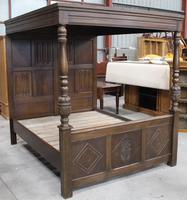 Grand 1930s King Size Carved Oak Four Poster Bed with Canopy and Slated Base