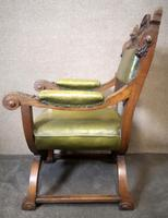 Late Victorian Carved Oak & Leather Armchair (11 of 14)