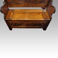 Edwardian Oak Monks Bench (4 of 5)