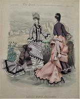 Antique Victorian 3-D Fashion Picture, Textile And Print, Original Frame, 1877 (6 of 8)