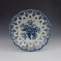 First Period Worcester Large Porcelain Pine Cone Pattern Basket c.1775 (2 of 4)