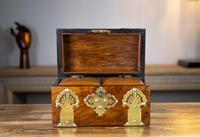 Figured Walnut & Brass Tea Caddy 1880 (9 of 12)