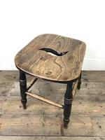 Antique 19th Century Elm Country Made Stool (5 of 8)