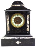 Very Fine French Slate & Marble Mantel Clock 8 Day Striking Mantle Clock (10 of 10)