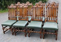 1960s Carved Oak Refectory Table with Set 8 Dining Chairs Green Upholstery (8 of 10)