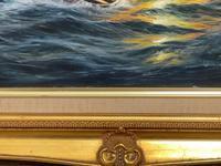 "Seascape Oil Painting Naval Frigate Ships Napoleonic War Sea ""Battle Trafalgar"" (7 of 25)"