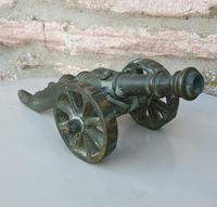 Vintage Solid Brass Desk Cannon