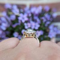 Vintage 18ct Gold Aquamarine & Diamond Cluster Ring, 18k Dress Cocktail Statement (3 of 12)