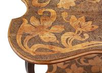 Shaped Beech Pokerwork Occasional Side Table c.1900 (3 of 6)