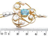 3.22ct Diamond & 2.10 ct Aquamarine, Pearl & 18ct Yellow Gold Pendant / Brooch - Antique Victorian (6 of 9)