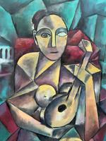 Original 20th Century Continental Abstract Cubism Style Portrait Oil Painting (4 of 11)