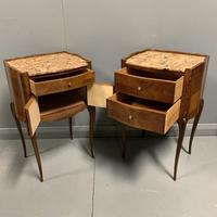 Pair of French Marble Top Bedside Cabinets (2 of 6)