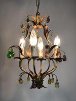 Vintage French Gilt Toleware & Murano Style Chandelier (12 of 13)