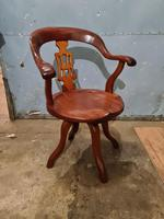 Antique Chinese Cherry Wood Swivel Captains Desk Chair (8 of 10)