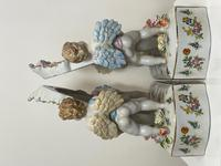 Pair of Small Dresden Victorian Style Porcelain Cherub Table Mirrors (33 of 60)