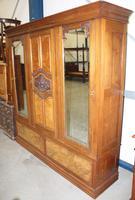 1920's Large Walnut Mirrored Compactum Wardrobe (3 of 5)