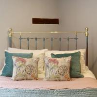 Decorative Antique Bed in Blue Verdigris (7 of 9)