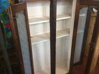 Antique Stained Pine Cupboard with Etched Glass Door Panels (7 of 8)
