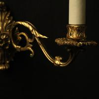 French Pair of Brass Wall Sconces c.1930 (3 of 10)