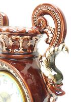 Amazing French 8 Day Majolica Mantle Clock Set Rare Pottery Mantle Clock Set (9 of 11)
