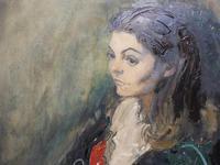 Large Oil on Canvas Portrait of Carolyn Royal Academy Artist Margaret Milne 1970 (7 of 10)