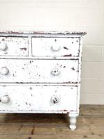 Small Distressed White Painted Victorian Chest of Drawers (4 of 10)