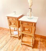 French Antique Oak Bedside Tables / Marble Bedside Cabinets / Nightstands (4 of 6)