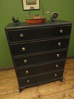 Art Deco Black Painted Chest of Drawers, Gothic Shabby Chic (9 of 13)