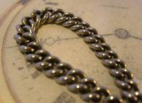 Antique Pocket Watch Chain 1890s Victorian NCR Co Silver Nickel Albert With T Bar (6 of 12)